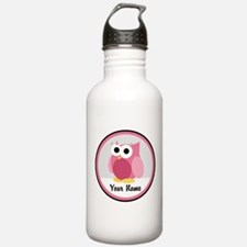 Funny Cute Pink Owl Sports Water Bottle