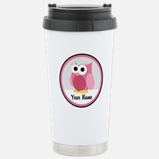 Funny Cute Pink Owl Travel Mug