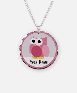 Funny Cute Pink Owl Necklace
