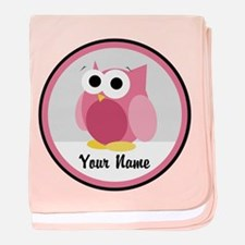 Funny Cute Pink Owl baby blanket