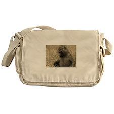 sepia thoughtful baboon Messenger Bag