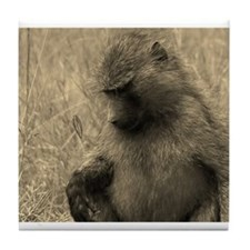 sepia thoughtful baboon Tile Coaster