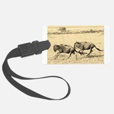 sepia wildebeest crossing kenya collection Luggage Tag