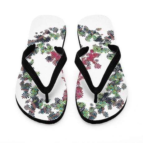 Yule Flower Peace Flip Flops