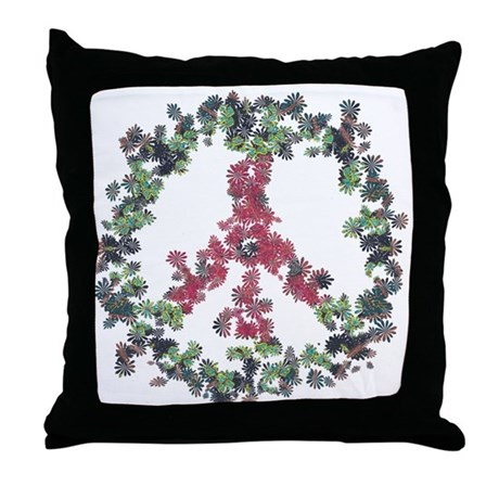 Yule Flower Peace Throw Pillow