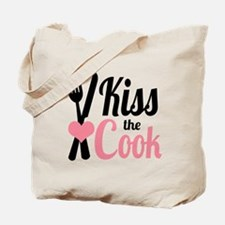 Sassy Pink and Black Kiss the Cook Tote Bag