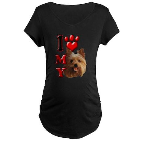 I Love My Yorkie Maternity Dark T-Shirt