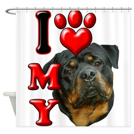 I Love My Rottweiler.png Shower Curtain