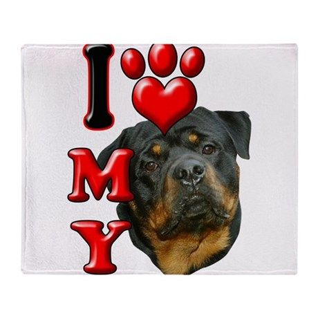 I Love My Rottweiler.png Throw Blanket