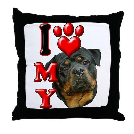 I Love My Rottweiler.png Throw Pillow