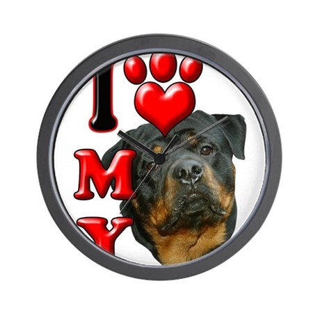 I Love My Rottweiler.png Wall Clock