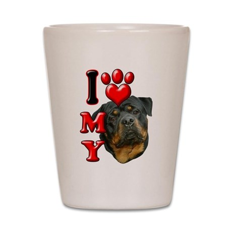 I Love My Rottweiler.png Shot Glass