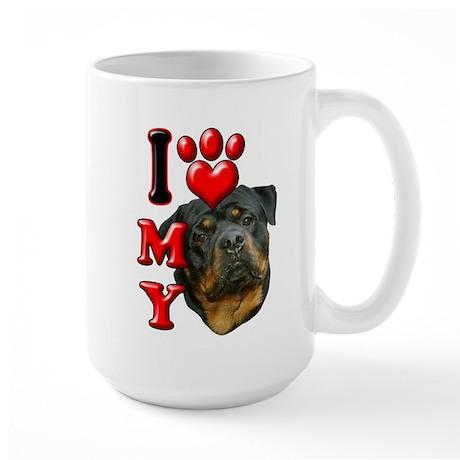 I Love My Rottweiler.png Large Mug
