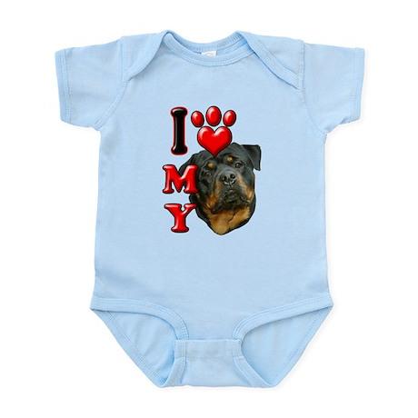 I Love My Rottweiler.png Infant Bodysuit