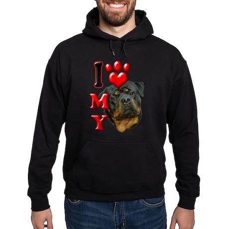I Love My Rottweiler.png Hoodie (dark)