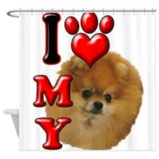 I Love My Pomeranian.png Shower Curtain