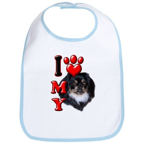 I Love My Pekingnese Black.png Bib
