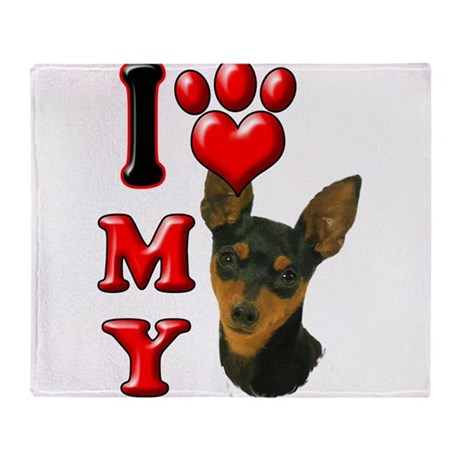 I Love My Min Pin.png Throw Blanket