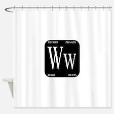 White Widow Black Shower Curtain