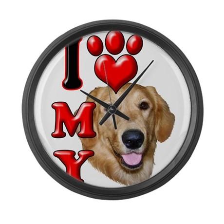 I Love My Golden Retriever.png Large Wall Clock