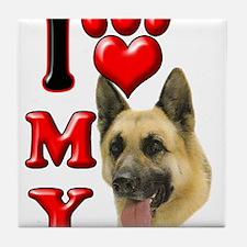 I Love My German Shepherd.png Tile Coaster