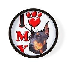 I Love My Doberman.png Wall Clock