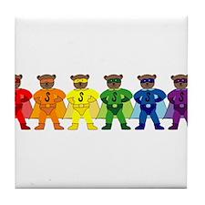 Rainbow Pride Super Bears Tile Coaster