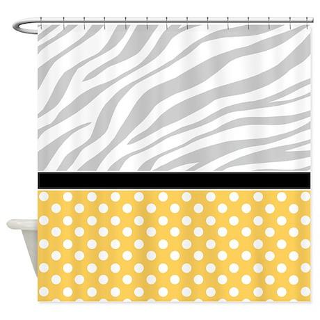 Yellow Polka Dot Faded Zebra Print Shower Curtain