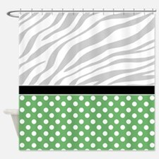 Green Polka Dot Faded Zebra Print Shower Curtain