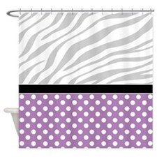 Purple Polka Dot Faded Zebra Print Shower Curtain