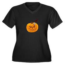 Halloween Pumpkin Women's Plus Size V-Neck Dark T-
