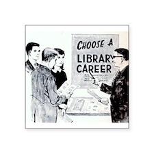 """Retro Librarian Square Sticker 3"""" x 3"""""""