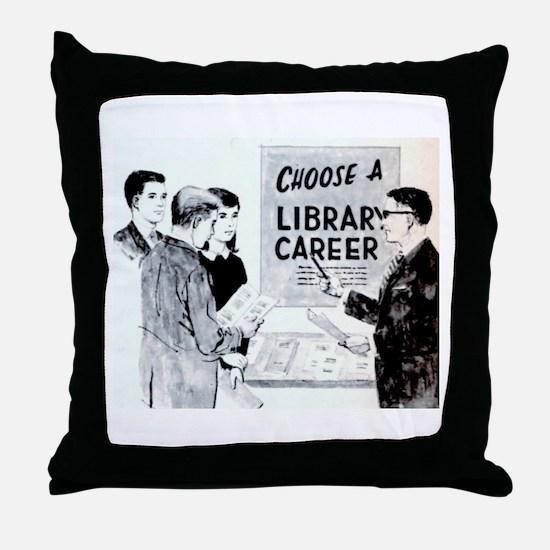 Retro Librarian Throw Pillow