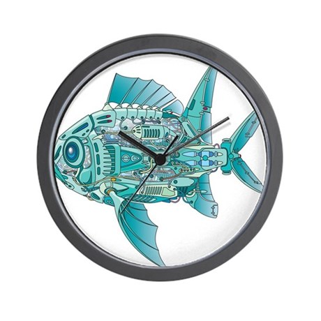 Robot fish wall clock by awesomegiftideas for Fish wall clock
