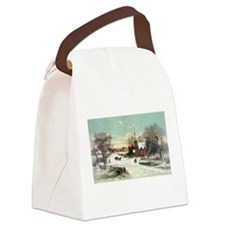 Vintage Christmas Winter Canvas Lunch Bag