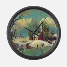 Vintage American Winter Life Large Wall Clock