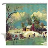 Vintage winter  christmas Shower Curtains