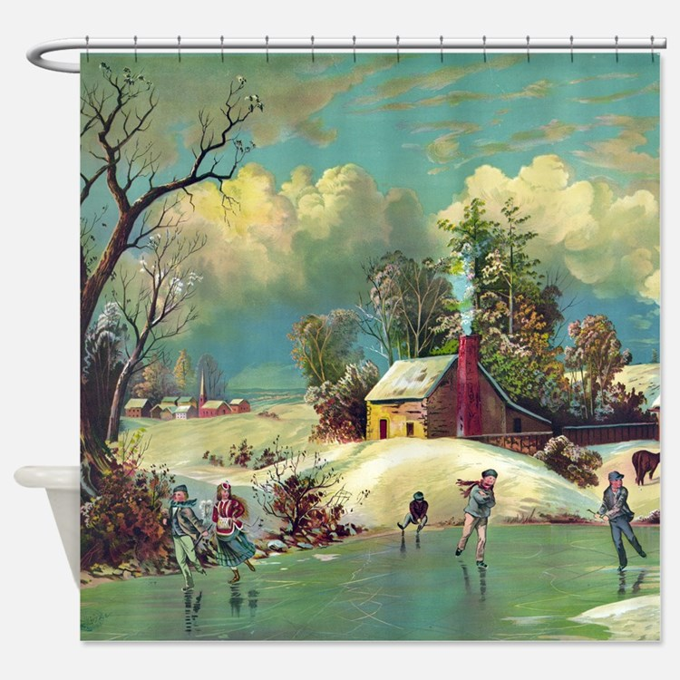 Vintage American Winter Life Shower Curtain