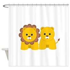 Baby Lion and Lioness Shower Curtain