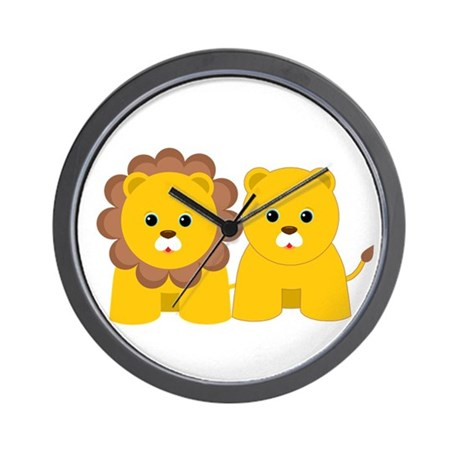 Baby Lion and Lioness Wall Clock