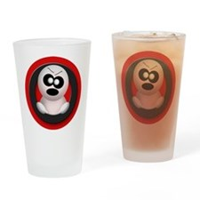 Cute Angry Ghost Red Drinking Glass