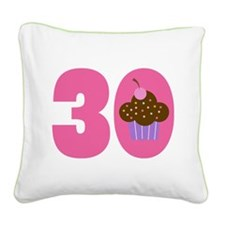 30th Birthday Cupcake Square Canvas Pillow
