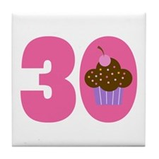 30th Birthday Cupcake Tile Coaster