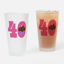 40th Birthday Cupcake Drinking Glass