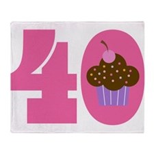 40th Birthday Cupcake Throw Blanket