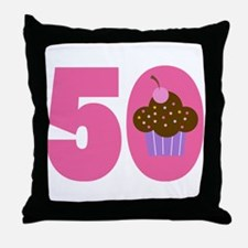 50th Birthday Cupcake Throw Pillow