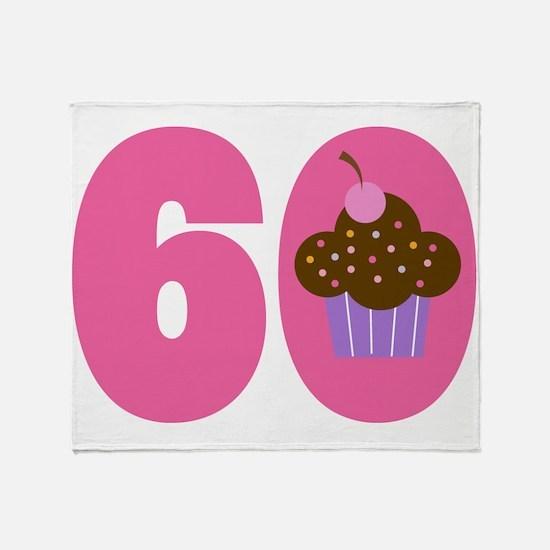 60th Birthday Cupcake Throw Blanket