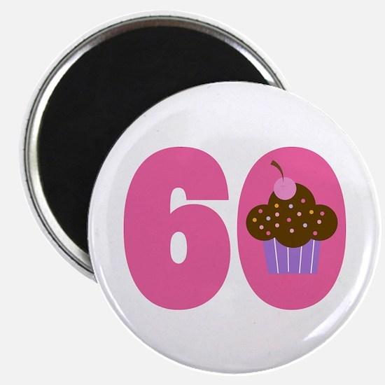 60th Birthday Cupcake Magnet
