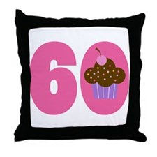 60th Birthday Cupcake Throw Pillow