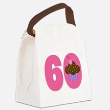 60th Birthday Cupcake Canvas Lunch Bag